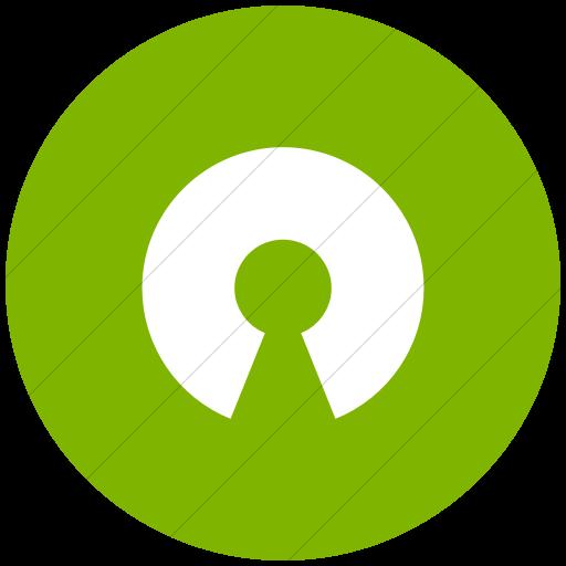 Flat Circle White On Green Raphael Opensource Icon