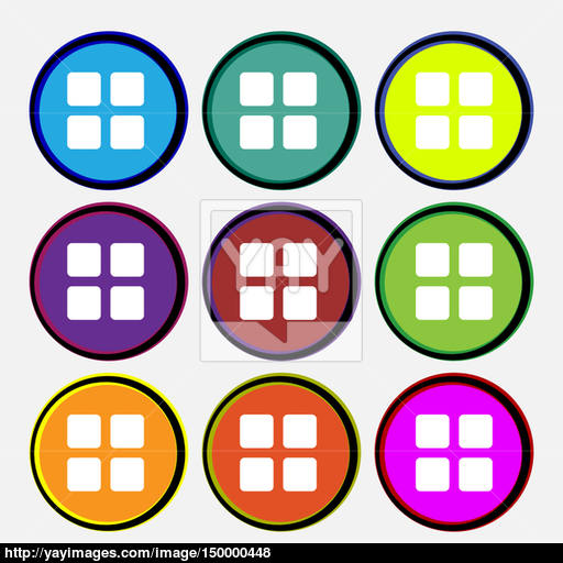 List Menu, Content View Options Icon Sign Nine Multi Colored