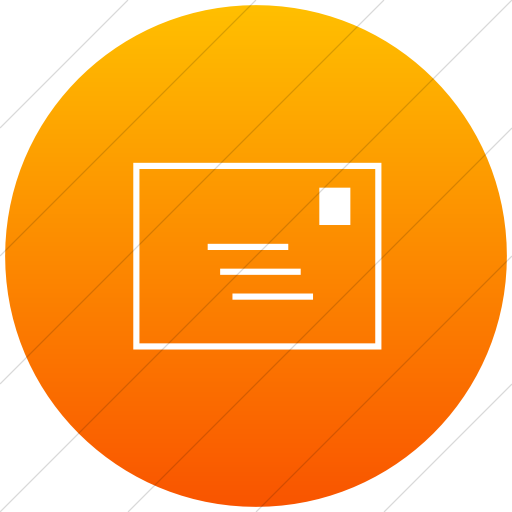 Flat Circle White On Orange Gradient Classica Email Icon