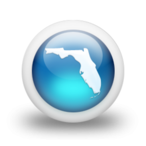 Cropped Glossy Blue Orb Icon Culture State Florida