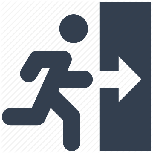 Exit, Man, Person, Running, Way Out Icon