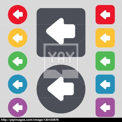 Arrow Left, Way Out Icon Sign A Set Of Colored Buttons Flat