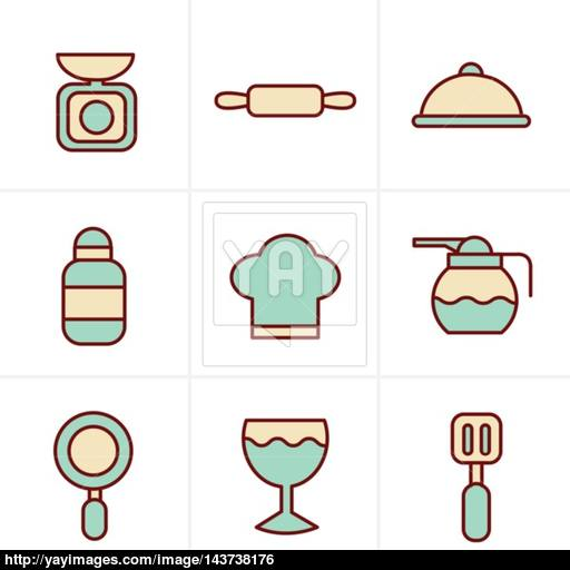 Icons Style Cooking Foods And Kitchen Outline Icons Set Vector