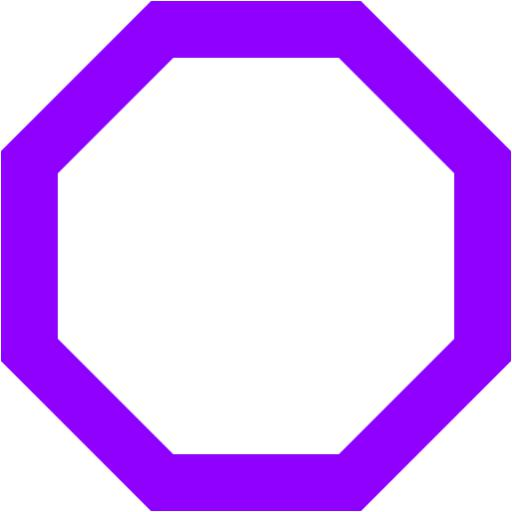 Violet Octagon Outline Icon