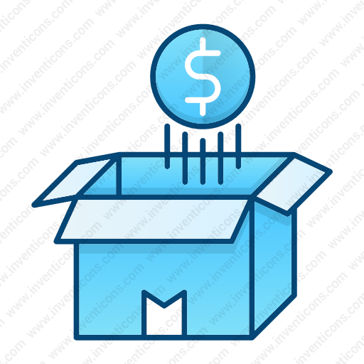 Download Money,coin,float,over,opened,box,money Flow Icon