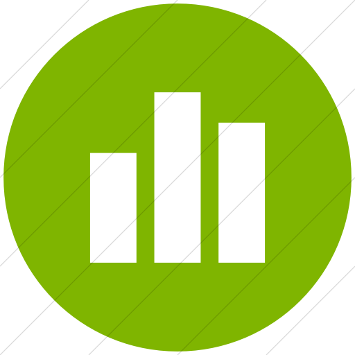 Flat Circle White On Green Raphael Bar Chart Icon