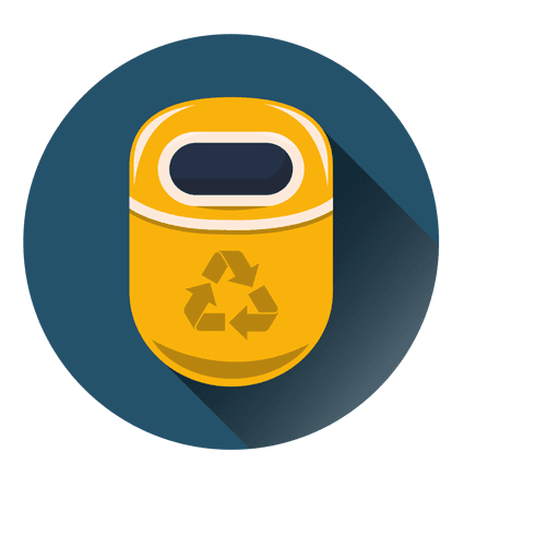 Recycle Bin Round Icon Over Circle