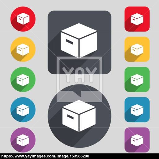 Packaging Cardboard Box Icon Sign A Set Of Colored Buttons