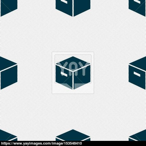 Packaging Cardboard Box Icon Sign Seamless Pattern With Geometric
