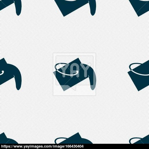 Paint Bucket Icon Sign Seamless Pattern With Geometric Texture