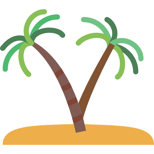 Island, Desert, Tropical, Oasis, Nature, Palm Tree Icon