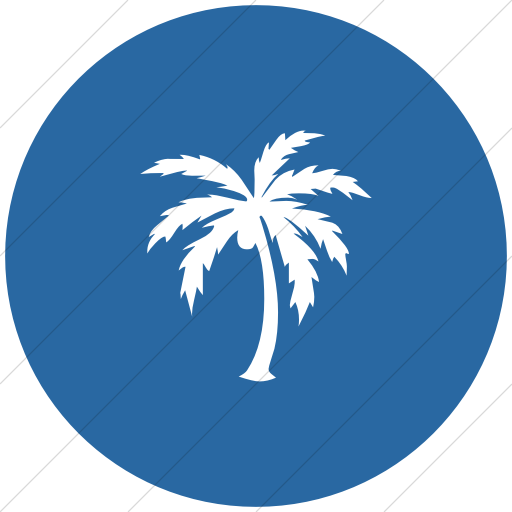 Flat Circle White On Blue Classica Palm Tree Icon