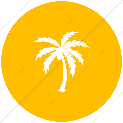 Flat Circle White On Yellow Classica Palm Tree Icon