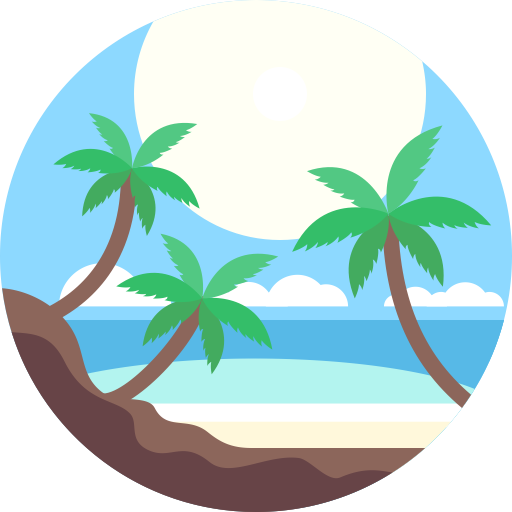 Beach, Coconut Tree, Linear Icon With Png And Vector Format