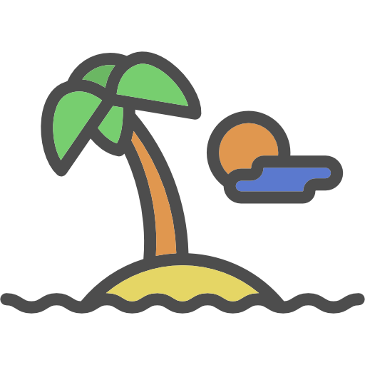 Desert, Nature, Island, Tropical, Oasis, Palm Tree Icon