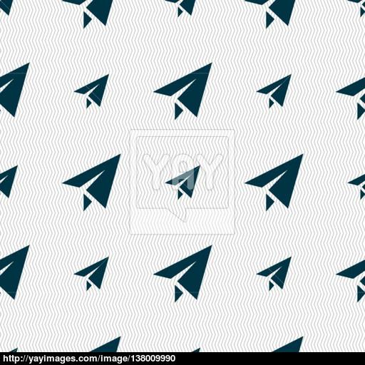 Paper Airplane Icon Sign Seamless Pattern With Geometric Texture