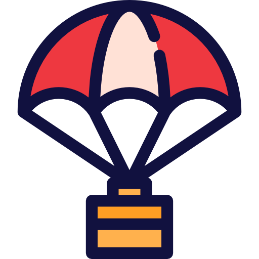 Parachuting, Commerce, Delivery, Landing, Box, Shipping