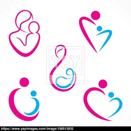 Creative Mother Baby Icon Design Concept Vector Vector