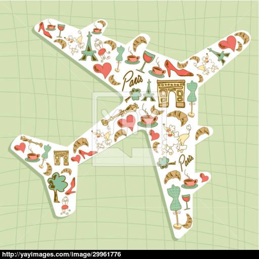 Travel Paris Icon Set Airplane Vector