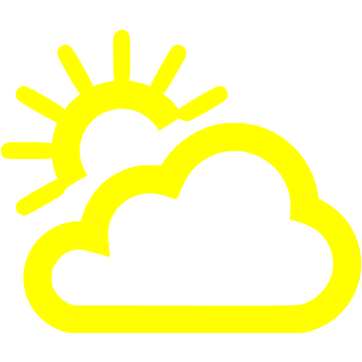 Yellow Partly Cloudy Day Icon