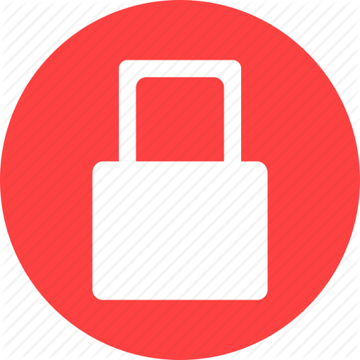 Lock, Locked, Password, Privacy, Protected, Red Icon