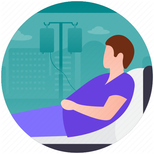 Human Illness, Ill Male, Patient Bed, Sick Male, Sick Patient Icon