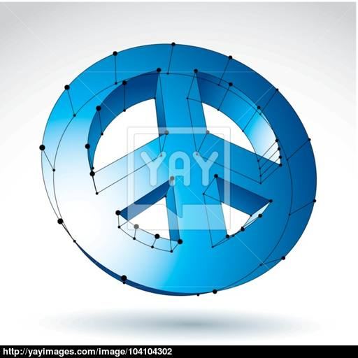 Mesh Blue Peace Icon Isolated On White Background, Colorful L