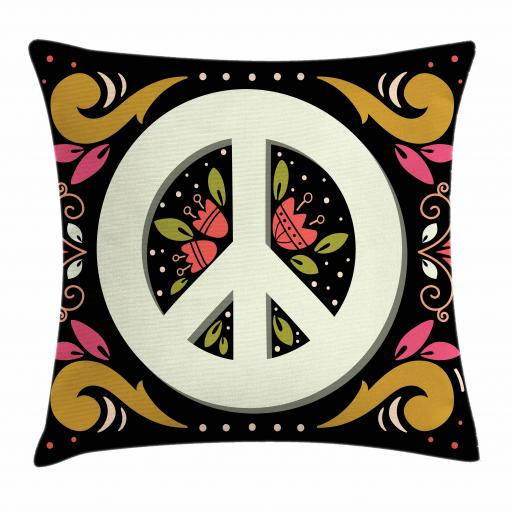 Hippie Throw Pillow Cushion Cover, Graphic Peace Sign With Flower