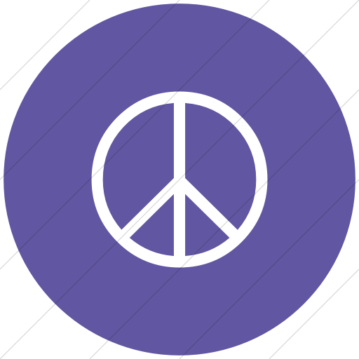 Flat Circle White On Purple Classica Peace Sign Icon
