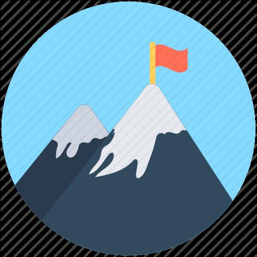 Achievement, Flag, Goal, Mission, Mountain Peak Icon