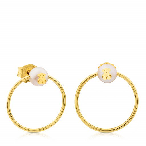 Gold Tous Icon Earrings With Pearl