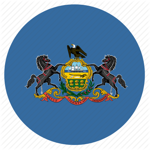 American, Circle, Circular, Flag, Pennsylvania, State Icon