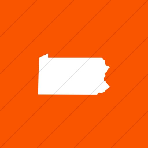 Flat Square White On Orange Us States Pennsylvania Icon