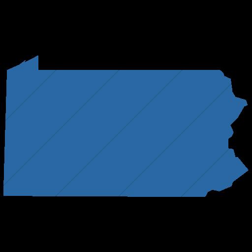 Simple Blue Us States Pennsylvania Icon