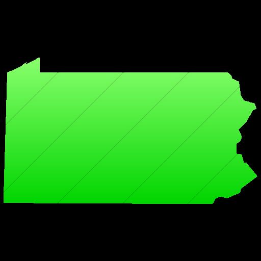 Simple Ios Neon Green Gradient Us States Pennsylvania Icon