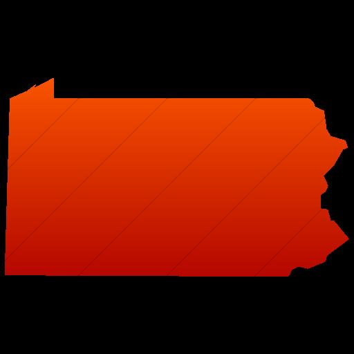 Simple Red Gradient Us States Pennsylvania Icon