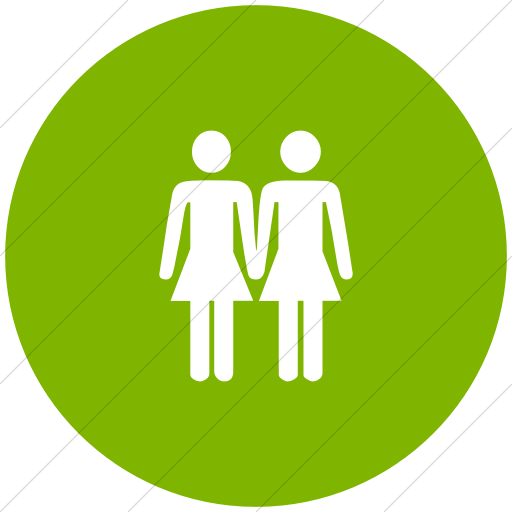 Flat Circle White On Green Classica Two Women Holding