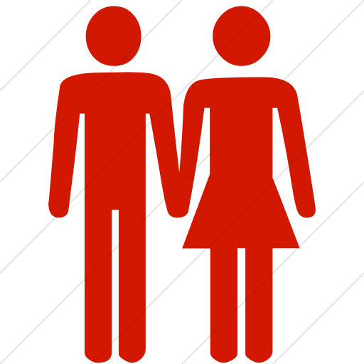 Simple Red Classica Man And Woman Holding Hands Icon