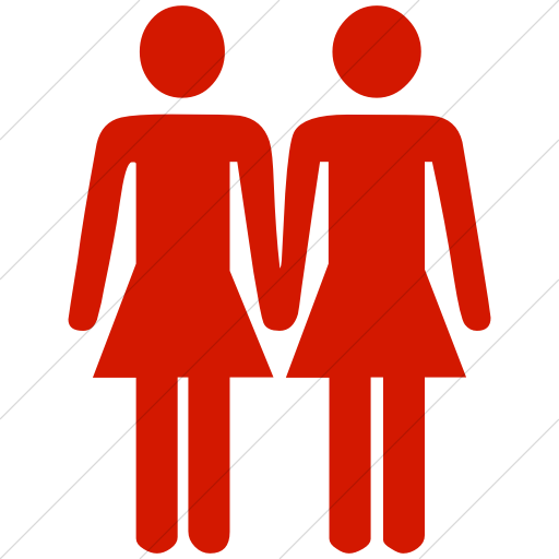 Simple Red Classica Two Women Holding Hands Icon