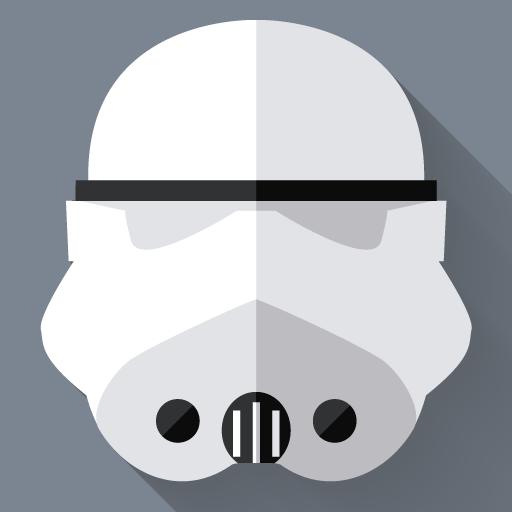 Stormtrooper Icon Starwars Longshadow Flat Iconset Creativeflip
