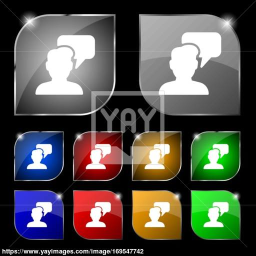 People Talking Icon Sign Set Of Ten Colorful Buttons With Glare
