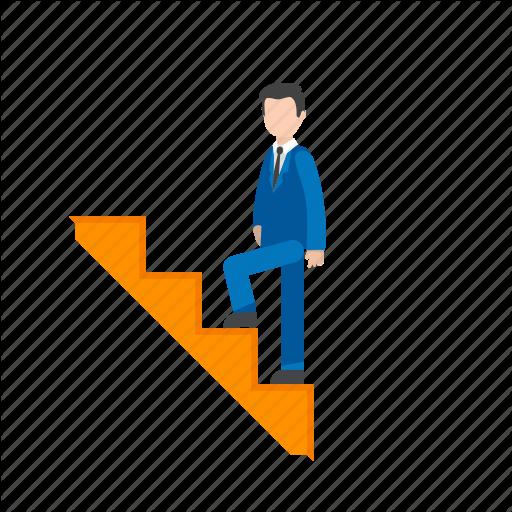 Climbing, Climbing Stairs, Man, Stairs, Upwards, Walking Icon