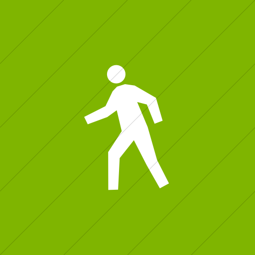 Flat Square White On Green Classica Student Walking Icon