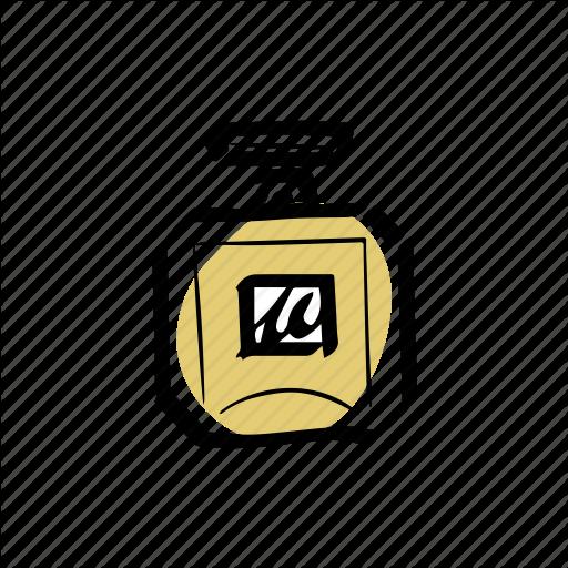 Bottle, Fragrance, Gold, Illustration, Perfume Icon