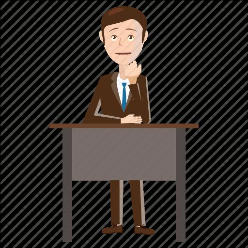 Businessman, Cartoon, Chair, Desk, Office, Sitting, Table Icon