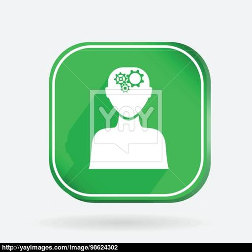 Square Icon, Man Thinks, The Gears In Head Vector
