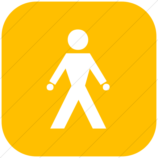 Flat Rounded Square White On Yellow Classica Walking
