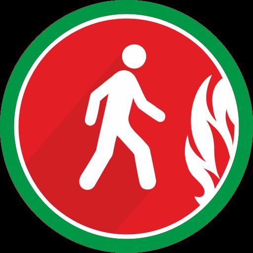 Walking, Danger, Fire, Person Icon
