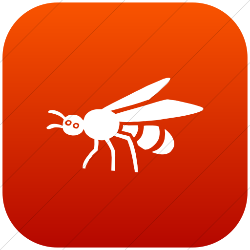 Flat Rounded Square White On Red Gradient Animals Bee Icon