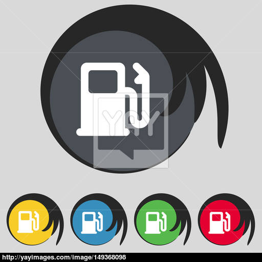 Petrol Or Gas Station, Car Fuel Icon Sign Symbol On Five Colored